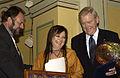 Mari Boine, Nordiska radets musikpristagare, Inge Loenning, Nordiska Radets president och jurymedlem, Steen Meier (Bilden ar tagen vid Nordiska radets session i Oslo, 2003).jpg