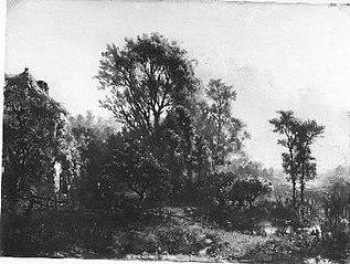 Boerenwoningen in een boomrijk landschap