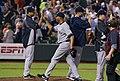 Mariano Rivera high fives Hiroki Kuroda in Baltimore 5-20-13.jpeg