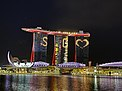 Marina Bay Sands and ArtScience Museum lit up with messages of hope