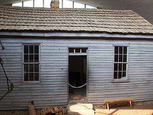 National Register of Historic Places listings in Monroe County, Missouri - Image: Mark Twain Birthplace Cabin exterior