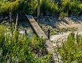 Markering van spoorlijn die is verdwenen onder een dikke laag slik. Locatie, Noarderleech Provincie Friesland 01.jpg
