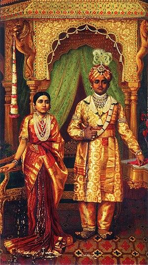 Krishna Raja Wadiyar IV - Marriage of H.H Sri Krishnaraja Wadiyar IV and Rana Prathap Kumari of Kathiawar, painted 1904.