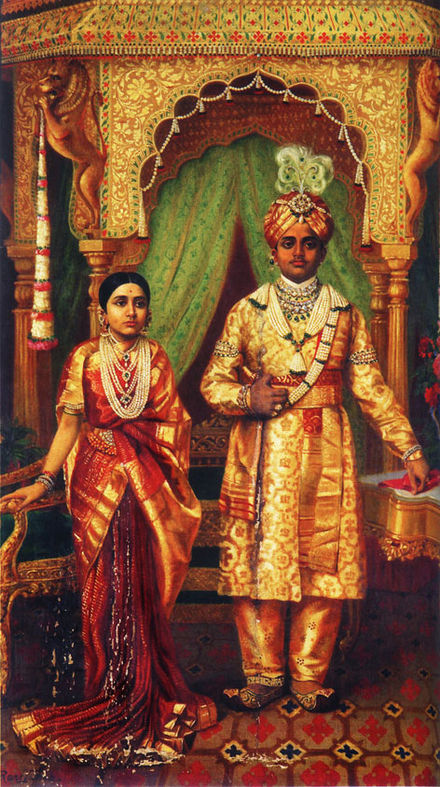 Child marriage in India. In 1900, Rana Prathap Kumari age 12 married Krishnaraja Wadiyar IV age 16. Two years later, he was recognized as the King of Mysore under British India. Marriage of H.H Sri Krishnaraja Wadiyar IV and Rana Prathap Kumari of Kathiawar.jpg
