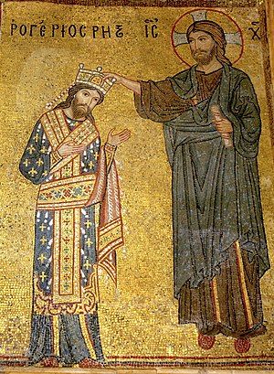 Roger II of Sicily - Detail of the mosaic with Roger II receiving the crown from Christ, Martorana, Palermo. The mosaic carries an inscription Rogerios Rex in Greek letters.