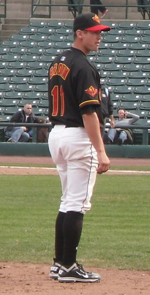Matthew Brown (baseball) - Brown at third for Rochester in April 2011