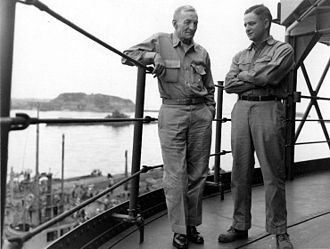 "John S. McCain Sr. - John S. ""Slew"" McCain Sr. and John S. ""Jack"" McCain Jr., on board a U.S. Navy ship in Tokyo Bay, c. September 2, 1945. The senior McCain died four days later."