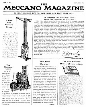 Meccano Magazine - First issue cover, Sep–Oct 1916, Vol. 1 No. 1.