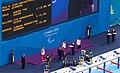 Medal ceremony - Swimming at the 2012 Summer Paralympics – Men's 100 metre backstroke S6.jpg