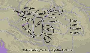 A Kárpát-medence térképe a magyarok és hungárusok elhelyezkedésével