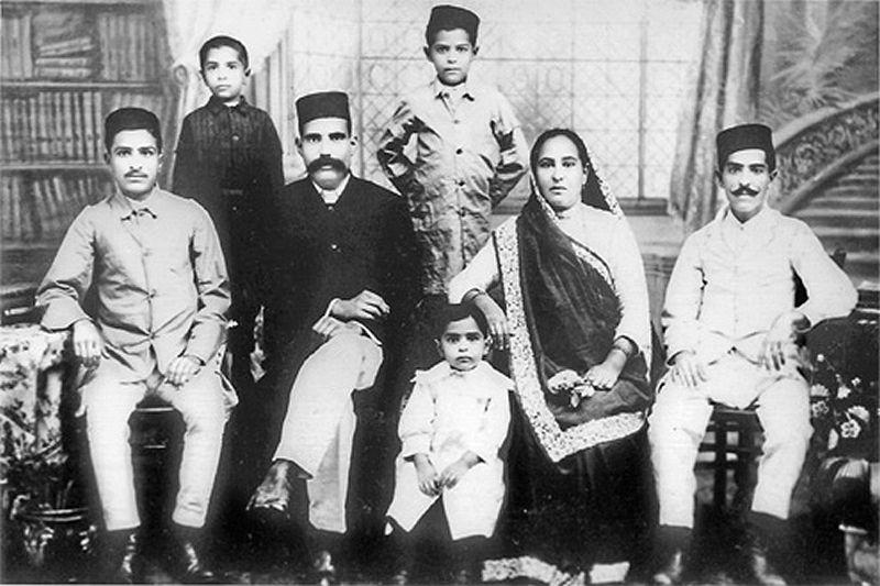 From left to right: Merwan (Meher Baba), Behram, Khodadad (Babas paternal uncle), Jal (standing at top), Ardeshir (Adi Jr.), Shireen (Babas mother), Jamshed (Babas elder brother).