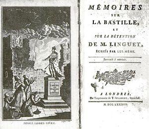 English: Title page of Linguet's Memoires sur ...