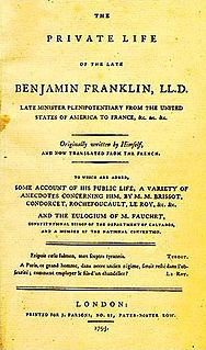 <i>The Autobiography of Benjamin Franklin</i> book by Benjamin Franklin
