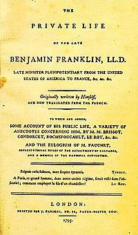 autobiography  cover of the first english edition of benjamin franklin s autobiography 1793