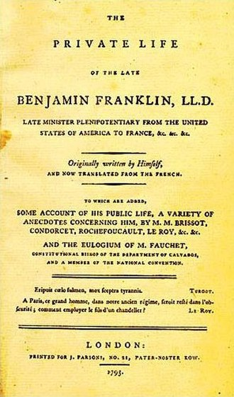 Autobiography - Cover of the first English edition of Benjamin Franklin's autobiography, 1793
