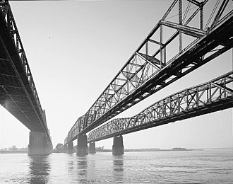 Frisco Bridge - Memphis & Arkansas Bridge, left Frisco Bridge, center Harahan Bridge, right
