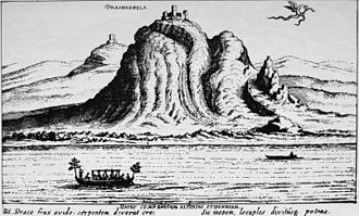 Arnold I of Cologne - Burg Drachenfels, and in the background Wolkenburg on an engraving by Matthäus Merian (1618/19)