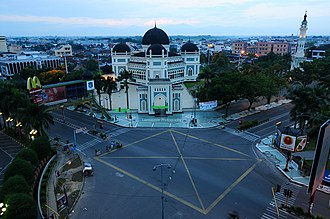Great Mosque of Medan - street view of Great Mosque of Medan