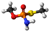 Ball-and-stick model of the methamidophos molecule