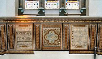 Wesleyan Church, Aldershot - The reredos is dedicated to Frances Penelope Wharton Middleton