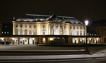 The opera house of Metz, built during the dukedom of Belle-Isle over the city. Metz Theatre nuit.jpg