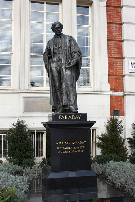 Michael Faraday statue in Savoy Place, London. Sculptor John Henry Foley RA. Michael Faraday statue AB.jpg