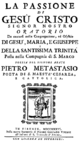 Michelangelo Magagni - La passione - titlepage of the libretto - Florence 1736.png