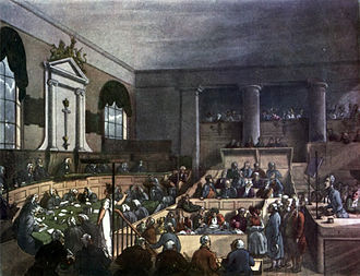 François Benjamin Courvoisier - Circa 1808 illustration of a trial at the Old Bailey in London. Courvoisier was found guilty here in June 1840 and sentenced to death.