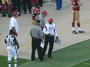 Mike Singletary - Singletary (center) during a game against the St. Louis Rams on November 16, 2008