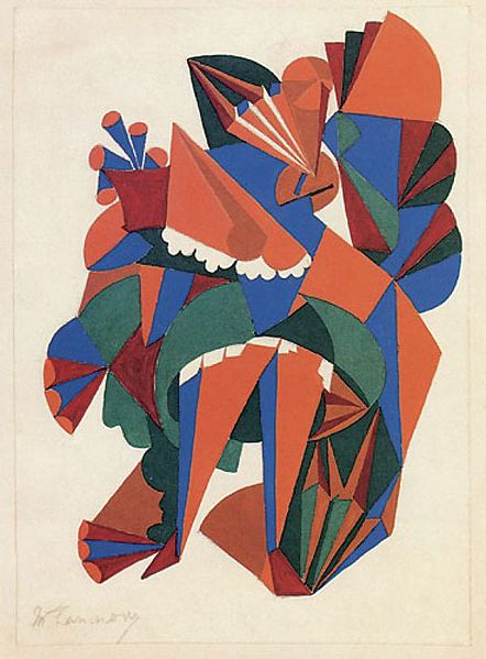 Tiedosto:Mikhail Larionov Lady with a fan. Sketch of a costume for the ballet «Natural History». (1916).jpg