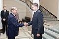 Ministru prezidents Valdis Dombrovskis tiekas ar Armēnijas parlamenta spīkeru Oviku Abraamjanu (Hovik Abrahamyan) (8956749512).jpg