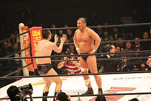 Minoru Suzuki - Suzuki (right) against RG (left) at a Hustle show