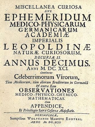 Academy of Sciences Leopoldina - Miscellanea Curiosa (1692)