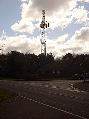 Corfe Hills School - Mobile phone mast on the summit of Corfe Hills by the school entrance