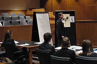 Mock trial - A student giving his closing argument during a mock trial