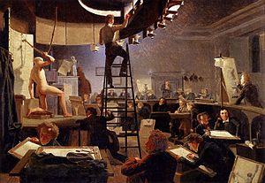 Academic art - Life class at the Royal Danish Academy of Fine Arts in 1826 by Wilhelm Bendz