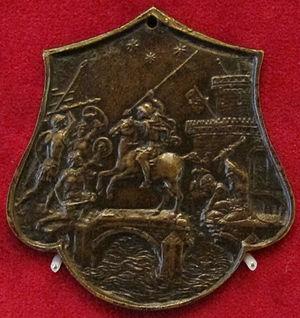 Plaquette - Image: Monogrammista IO.F.F., italia del nord, orazio coclite, fine del XV sec