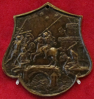 Plaquette - Horatius Cocles at the bridge, Renaissance plaquette by Master IO.F.F., late 15th century, Padua, 6.1 x 6.0 cm, in a shape for decorating a sword hilt.