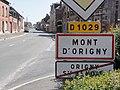 Mont-d'Origny (Aisne) City limit sign.JPG
