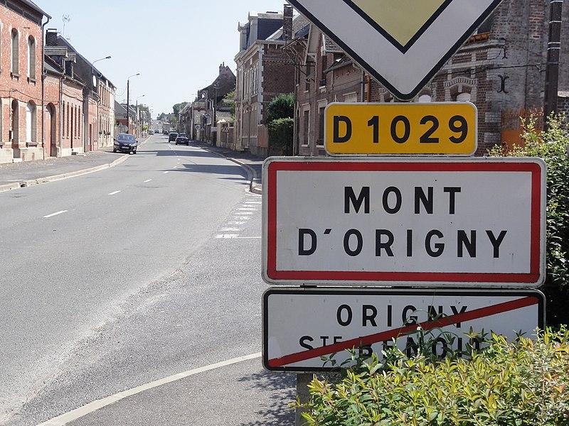 Mont-d'Origny (Aisne) City limit sign