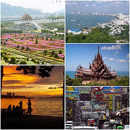 Frae left: Nong Nooch Gairden, Pattaya sunset, Pattaya Beach, The Sanctuary o Truth, Walking Street