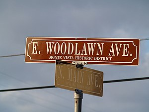 Neighborhoods and districts of San Antonio -  Typical Monte Vista Historic District street sign.