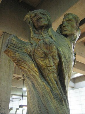 Lionel-Groulx station - The Tree of Life by Joseph Rifesser stands in the Lionel-Groulx Metro Station