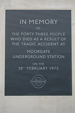 Moorgate tube crash - Memorial on the station building