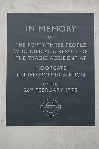 Moorgate tube crash - Memorial on the station building