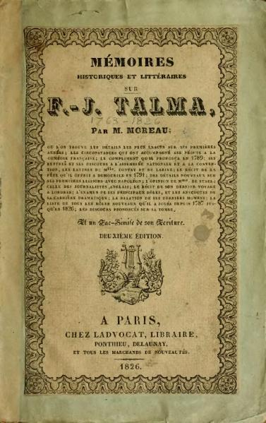 File:Moreau.- Mémoires historiques et litteraires F.-J. Talma, 1827.djvu