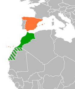 Map indicating locations of Morocco and Spain