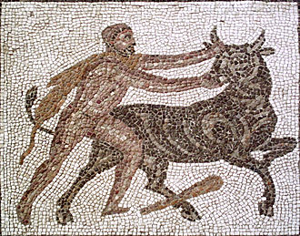 Cretan Bull - Heracles capturing the Cretan Bull. Detail of a Roman mosaic from Llíria (Spain).