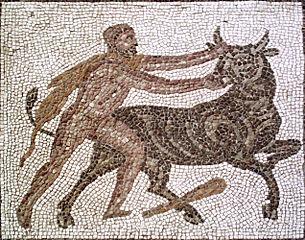 Hercules capturing the Cretan Bull.