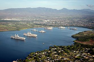 Naval Inactive Ship Maintenance Facility - View of the ships in the Middle Loch, Pearl Harbor, Hawaii, in 2016.